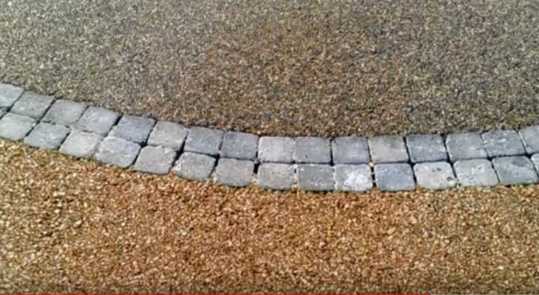 GeopaveX with line of square pavers